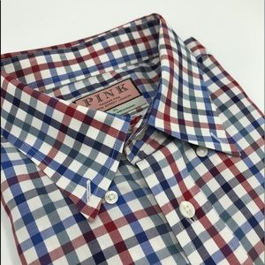 Thomas Pink Red, White and Blue check shirt